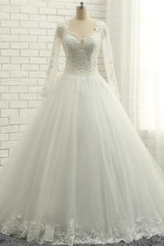 Długi rękaw Naturalne talii Sznurowane Nasuwki złudzenia Sukienka ślubne