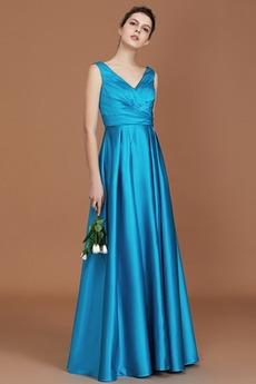 Naturalne talii Linia A Satyna elastyczna Sukienka dla Druhen
