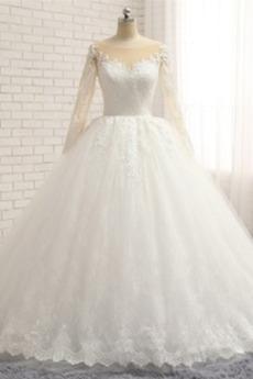 Długi rękaw Średni Satyna Zima Naturalne talii Spódnica ślubne