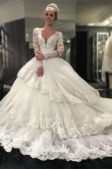 Klasyczny V-dekolt Odwrócony trójkąt Jesień Sukienka ślubne