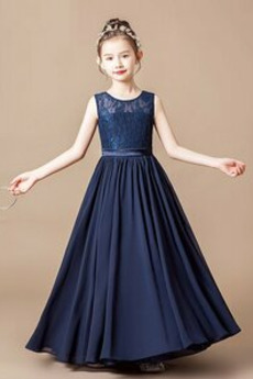 Naturalne talii Elegancki Klejnot Linia A Długość kostki Dzieci sukienka
