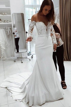 Koronka Koszulka rękaw Szyk Aula Długi rękaw Spódnica ślubne