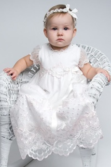 Długi Księżniczka Formalny Naturalne talii Sukienka do chrztu