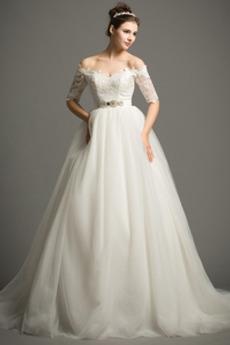 Aula Tiul Frezowanie Formalny Naturalne talii Sukienka ślubne