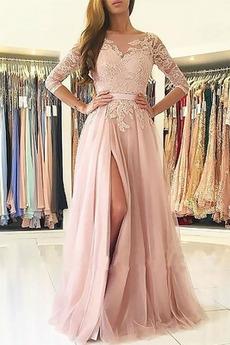 Jesień Linia A Naturalny talia Aplikacje Sukienka wieczorowe