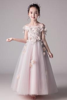 Wydajność Średni Lato Rozeta akcentowane Długość kostki Dzieci sukienka
