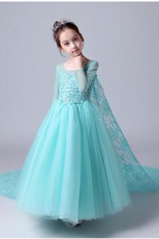 Koronki nakładki Chybienia Elegancki Długi rękaw Dzieci sukienka