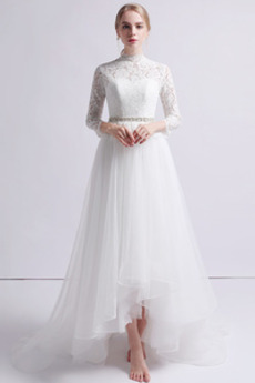 261e7ac2 Długi rękaw Asymetryczne Paciorkami pasem Wysokie pokryte Sukienka ślubne