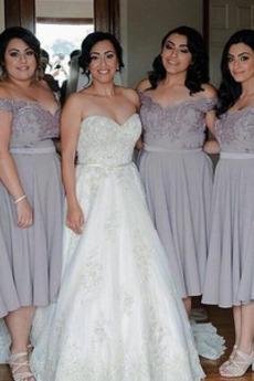 Przyjęcie Długość do kolan Zamek w górę Naturalne talii Sukienka dla Druhen