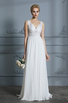Bez pleców Linia A V-dekolt Naturalny talia Sukienka ślubne