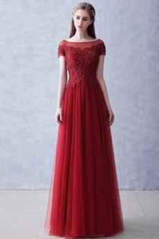 Lato Krótki rękaw Ograniczona rękawy Naturalny talia Sukienka wieczorowe