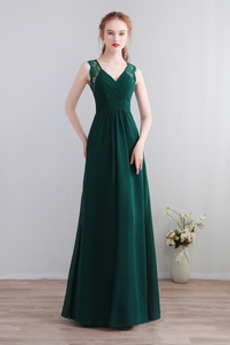V serek Koronki nakładki Latem Harmonijkowe gorset Sukienka dla Druhen