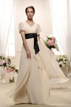 Krótki rękaw Luźne rękawy Szyfon Elegancki Sukienka wieczorowe