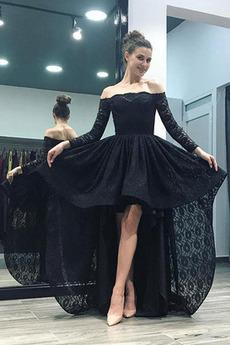 Asymetryczny Koronki Wysoki Niski Dew ramię Sukienka wieczorowe