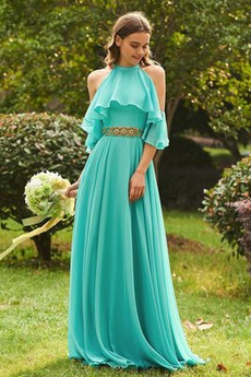 Kaskadowe Wysoki szyi Jesień Naturalne talii Sukienka dla Druhen