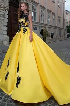 Satyna Bez rękawów Linia A Wiosna Naturalny talia Sukienka na studniówkę