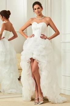 Ogród Wysoki Niski Asymetryczne Naturalne talii Sukienka ślubne