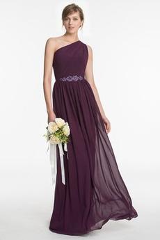 Szyfon Linia A Naturalne talii Na jedno ramię Sukienka dla Druhen