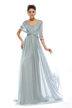 Wzburzyć Bez rękawów Lato Szyfon Naturalne talii Sukienka wieczorowe
