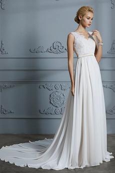 Bez pleców Pasek Linia A Naturalne talii Chybienia Sukienka ślubne