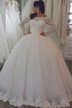 Nasuwki złudzenia Koronki Długi rękaw Wiosna Sukienka ślubne