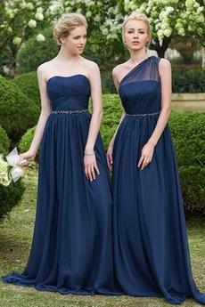 Prosty Naturalne talii Ślub Wiosna Linia A Sukienka dla Druhen