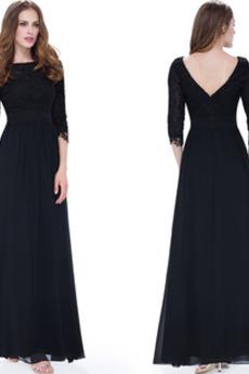 Naturalne talii Linia A Rękawy trzy czwarte Sukienka wieczorowe