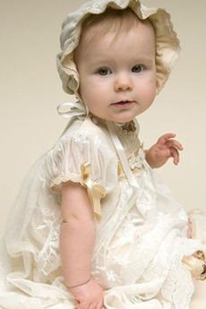 Balon rękawy Tani Księżniczka Krótki rękaw Sukienka do chrztu