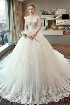 Bez pleców Luksusowy Krótki rękaw Naturalne talii Sukienka ślubne