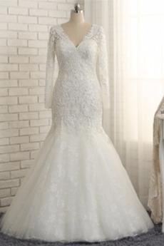 Długi rękaw V serek Formalny Sznurowane Gruszka Sukienka ślubne