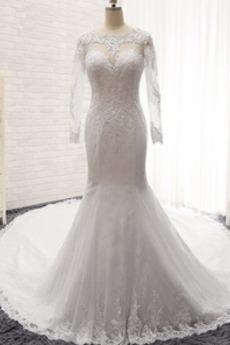Klasyczny Zimowe Przycisk Klejnot Syrena Koronki nakładki Sukienka ślubne