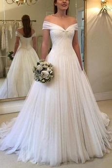 Tiul Długi Wiosna Bez rękawów Linia A Bez pleców Sukienka ślubne