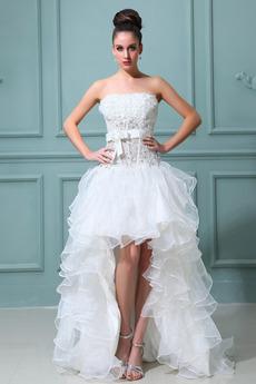 Organza Bez rękawów Asymetryczny Rozeta akcentowane Spódnica ślubne