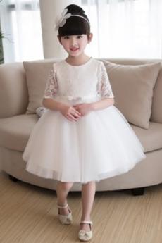 Aplikacje Na suwak Linia A Rękaw do łokcia Średni Dzieci sukienka