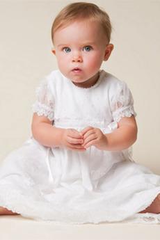 Formalny Klejnot Długość do podłogi Ślub Krótki rękaw Sukienka do chrztu