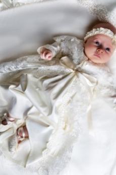 Ceremonia Klejnot Średni Akcentowane łuk Imperium talia Sukienka do chrztu