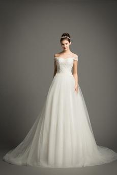 Bez rękawów Nanoszone Naturalne talii Linia A Sukienka ślubne