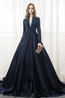Na suwak Frezowanie V-dekolt Klejnotami stanik Sukienka ślubne