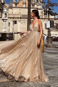 Długi Tiul Wiosna Romantyczny Ramiączkach Sukienka wieczorowe
