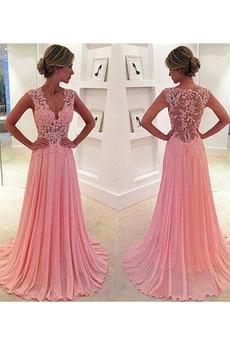 Elegancki Wiosna V-dekolt Chybienia Długi Sukienka wieczorowe