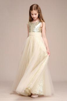 Cekiny Bez rękawów Przyjęcie Średni Cekiny Elegancki Dzieci sukienka