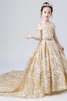Tiul Rosy ramię Długi Średni Haft Linia A Wiosna Dzieci sukienka