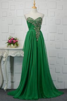 Bez pleców Elegancki Naturalne talii Klejnotami stanik Sukienka wieczorowe