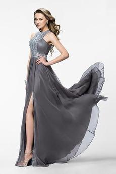 Naturalny talia Frezowanie Szyfon Linia A Sukienka na studniówkę