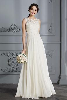 Lato Przycisk Średni Bez rękawów Elegancki Sąd Pociąg Sukienka ślubne