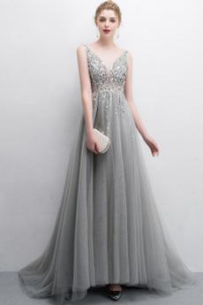 Bez pleców Frezowanie Naturalne talii Panienki Sukienka wieczorowe