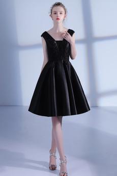 Bez rękawów Kwadrat Frezowanie Elegancki Sukienka koktajlowe