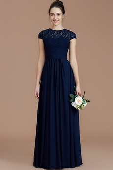 Romantyczny Krótki rękaw Szyfon Linia A Długość do podłogi Sukienka dla Druhen