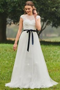 Linia A Koronki Naturalne talii Ograniczona rękawy Spódnica ślubne