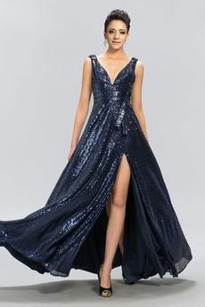 V serek Naturalne talii Szczeliny przedniego Sukienka wieczorowe